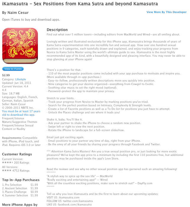iKamasutra App Store Descriptions